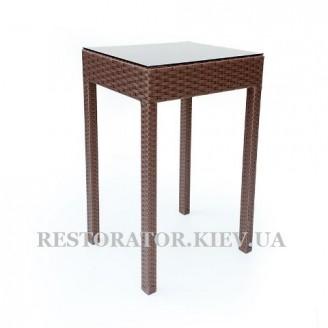 Стол плетеный из полиротанга Барный квадратный прозрачное стекло - Restor®