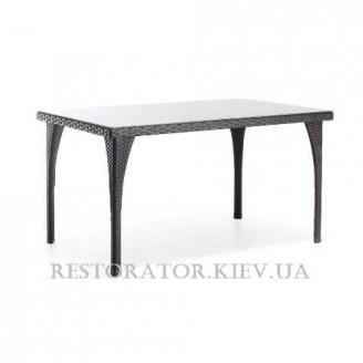Стол плетеный из полиротанга Пайк тонированное стекло - Restor®