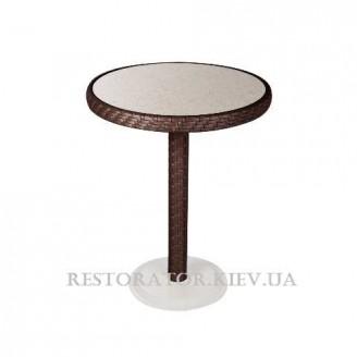 Стол плетеный из полиротанга Бейсик - М прозрачное стекло - Restor®