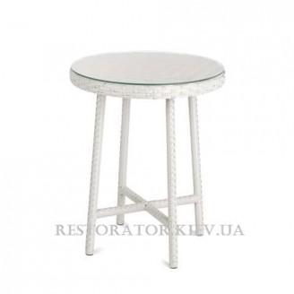 Стол плетеный из полиротанга Бейсик прозрачное стекло плетение столешницы паркет - Restor®