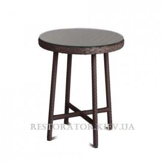 Стол плетеный из полиротанга Бейсик 800*750 стекло 6 мм + пленка - Restor®