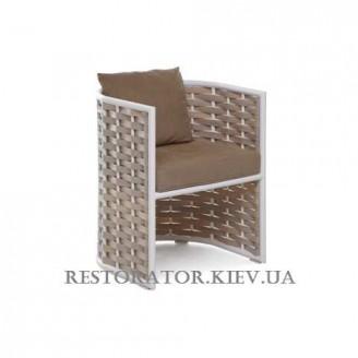 Кресло из алюминия и широкой ленты полиротанга Тин - Restor®