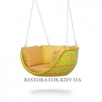 Подвесное кресло - качели Невада - С из широкой ленты полиротанга - Restor®