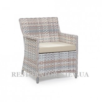 Кресло Марсель из алюминия и широкой ленты полиротанга - Restor®