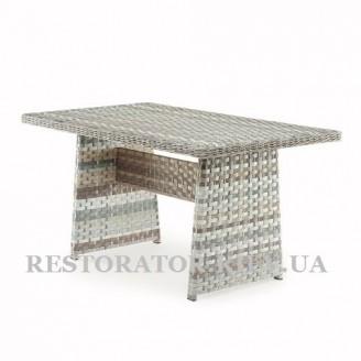Стол Марсель из алюминия и широкой ленты полиротанга - Restor®