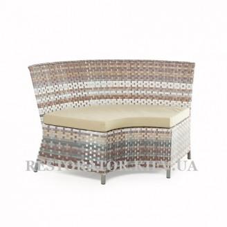Угловой элемент Марсель из алюминия и широкой ленты полиротанга - Restor®